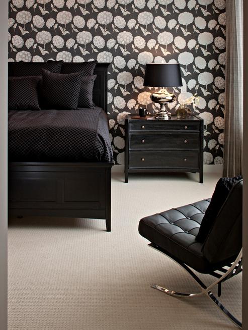 quarto com decoração na cor preta