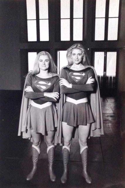Helen Slater with her stunt double Tracey Eddon