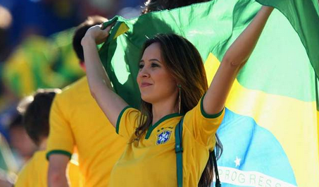 Brazil Supporter in World Cup Ceremony 2014