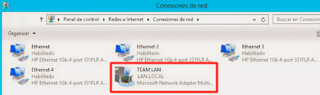 Formación de equipos de NIC - Conexiones de red.