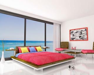 Dormitorio decorado de colores