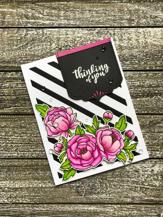 Thinking of You Card by June Guest Designer Megan Quinn | Peony Blooms Stamp Set by Newton's Nook Designs #newtonsnook #handmade