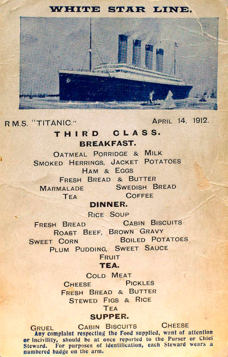 What Passengers Actually Ate On The Titanic Food Menus