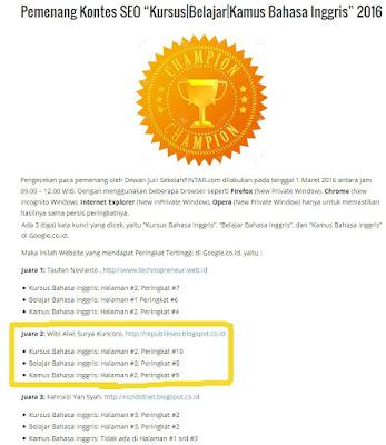 Pemenang ke 2 Kontes SEO Sekolahpintar.com