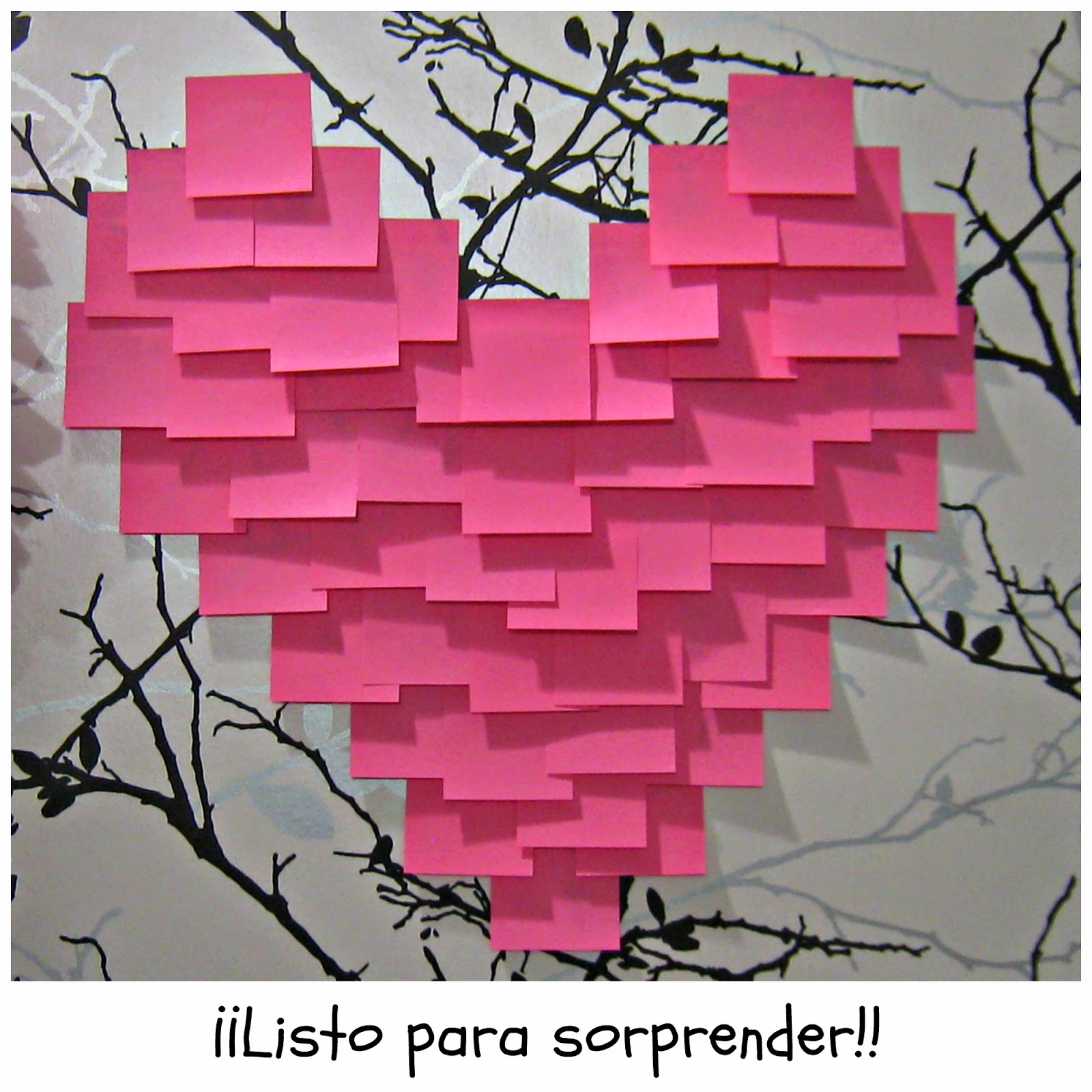 Diy san valent n y iii coraz n de post its - Como poner fotos en la pared ...