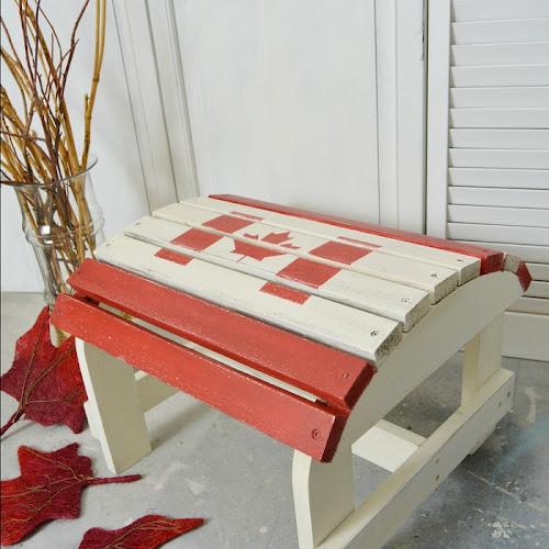 Patriotic Adirondack Footstool For Canada Day
