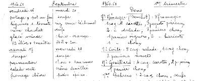 Extrait d'un cahier d'une cantine de la région de Montceau (collection musée)