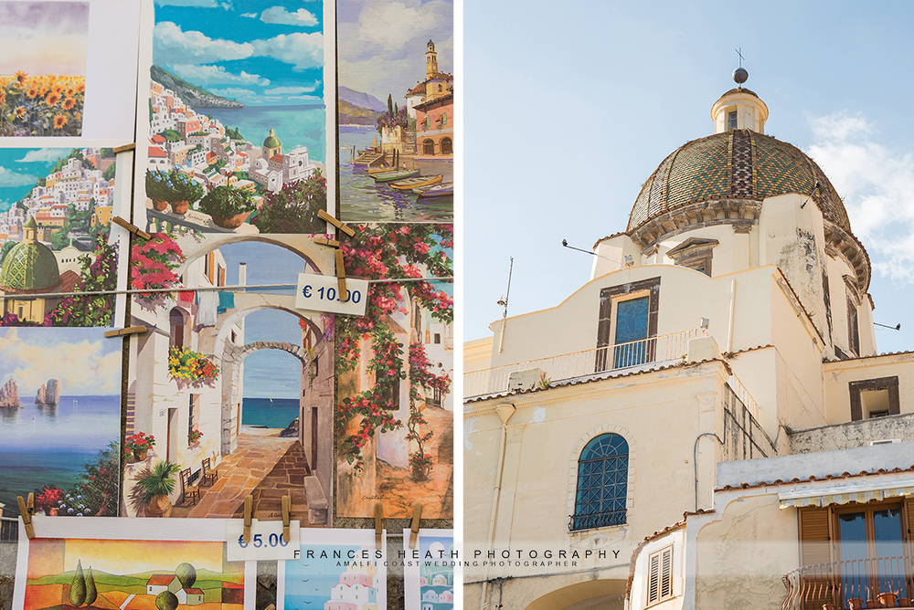 Positano wedding details of paintings and architecture