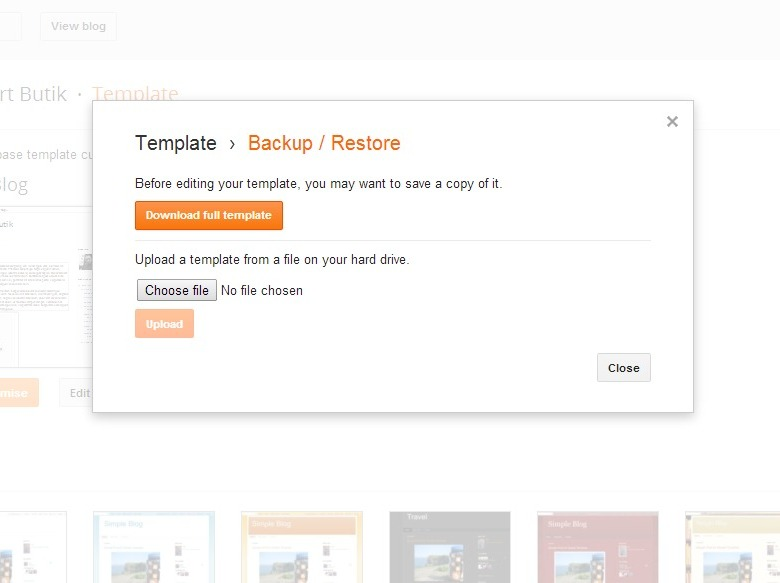 easy upload Blogrcart template file in dashboard