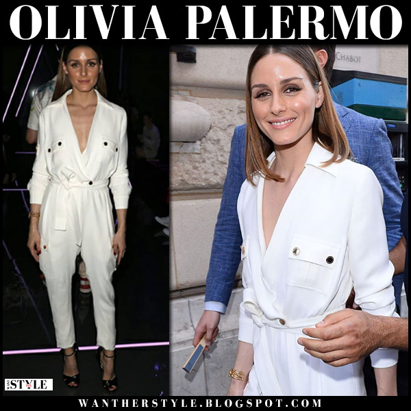 Olivia Palermo in white belted jumpsuit ralph russo front row fashion july 2