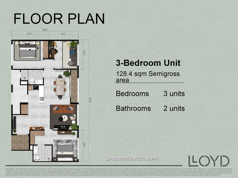 Tipe 3 BR Apartemen Lloyd