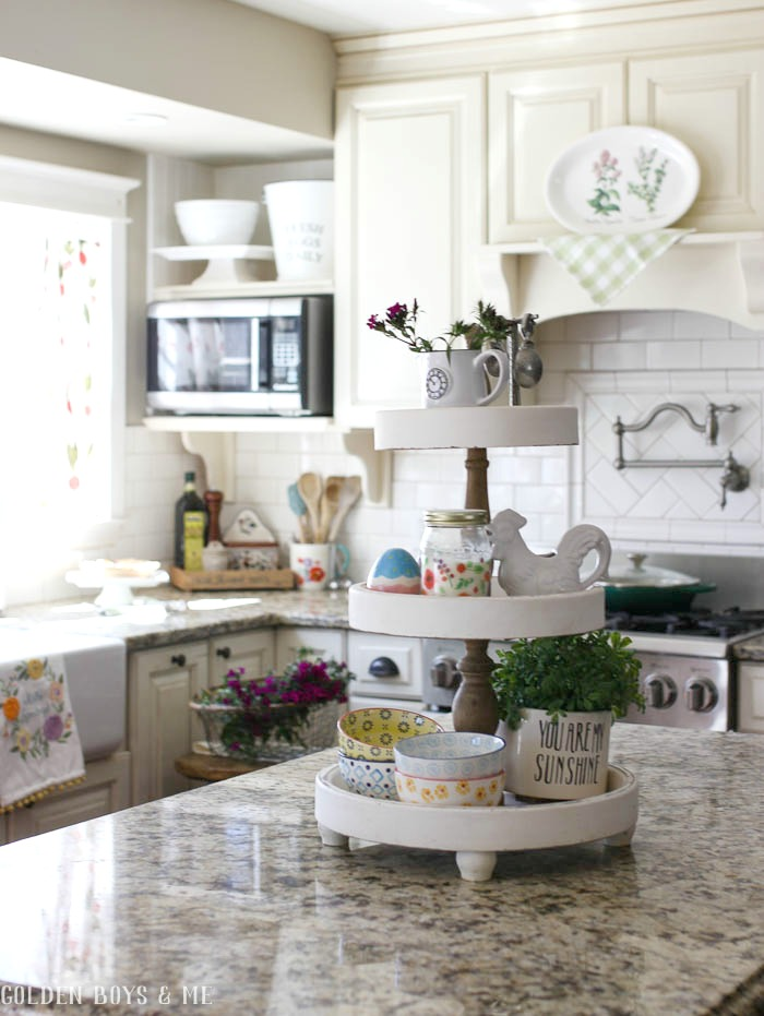 Tiered stand in colorful spring kitchen