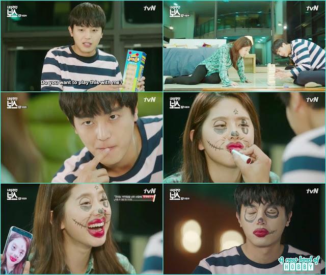 after playing both hwang gi and ra won make each other funny clown face - My Shy Boss kiss korean drama