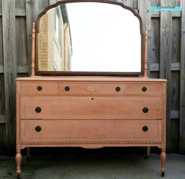 pink painted antique depression era three over two dresser