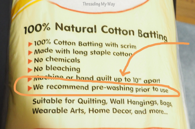Cotton quilt batting - is it best to pre-wash the batting / wadding, to wash the quilt after it's finished, or just leave it as is. Join the discussion at ~ Threading My Way