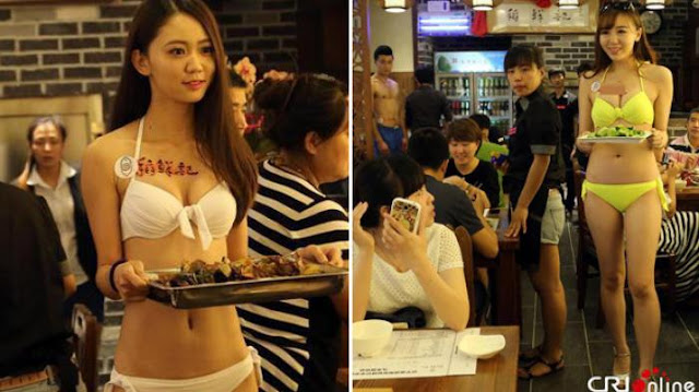 Pelayan Seksi Berbikini di Restoran Taipei