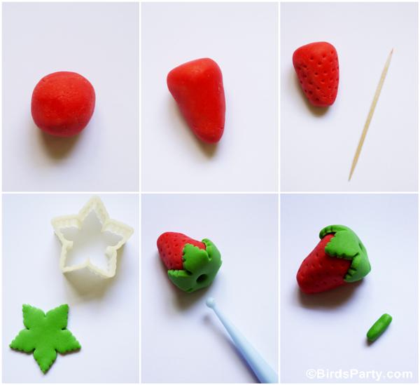 DIY Fraise en Pâte à Sucre & Recette Cupcakes | BirdsParty.fr