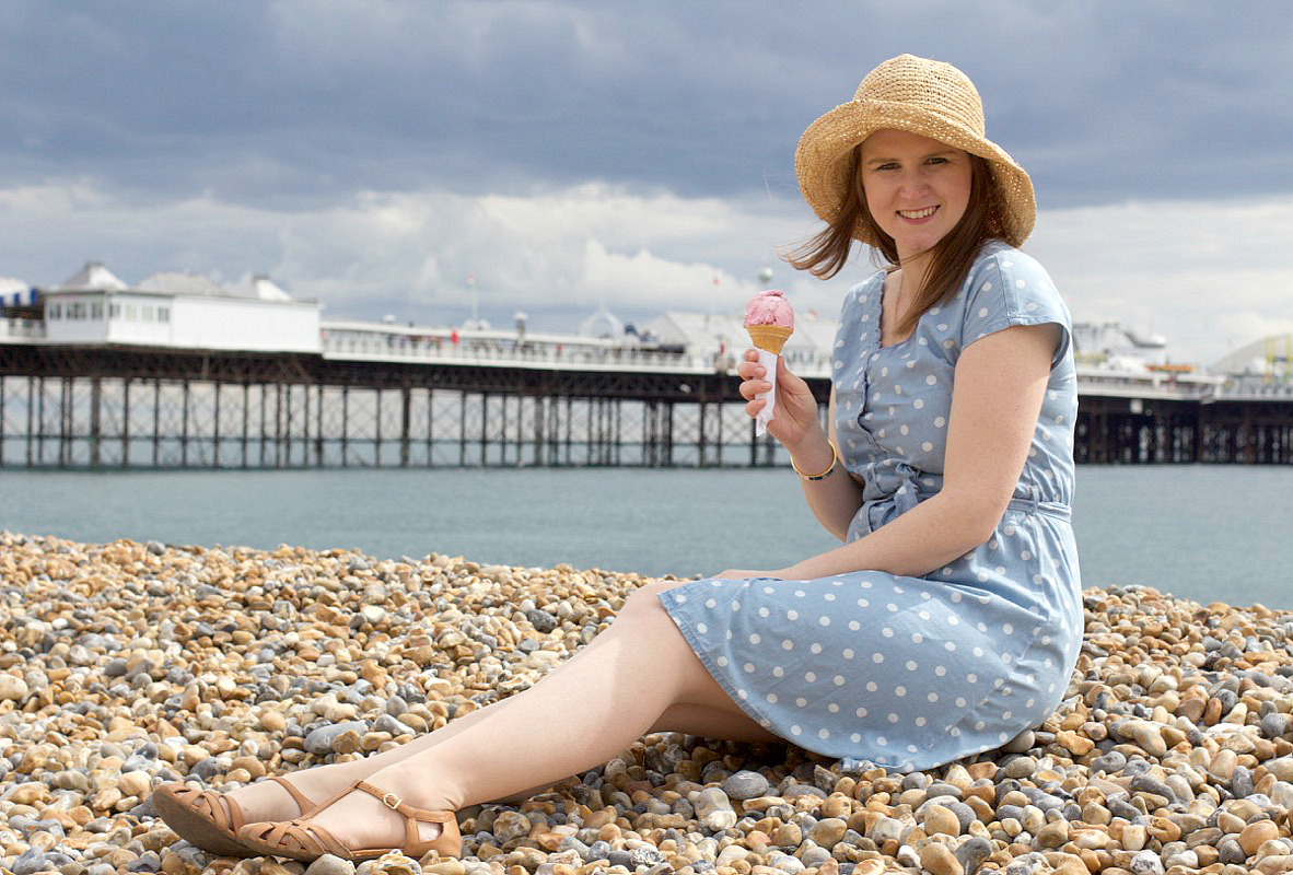 cath kidston button spot chambray scallop dress british seaside