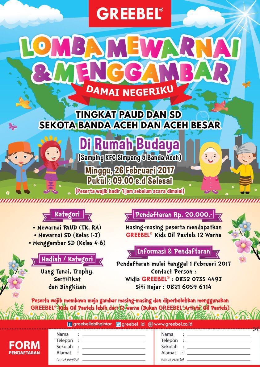 """Ikuti lomba mewarnai dan menggambar dengan tema """"Damai Negeriku"""" Lomba ini diadakan untuk tingkat paud dan SD sekota Banda Aceh dan Aceh besar"""