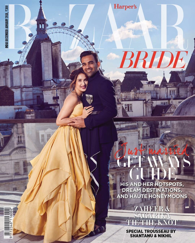 Sagarika Ghatge and Zaheer Khan Sizzles on Harpers Bazaar Bride Magazine Cover