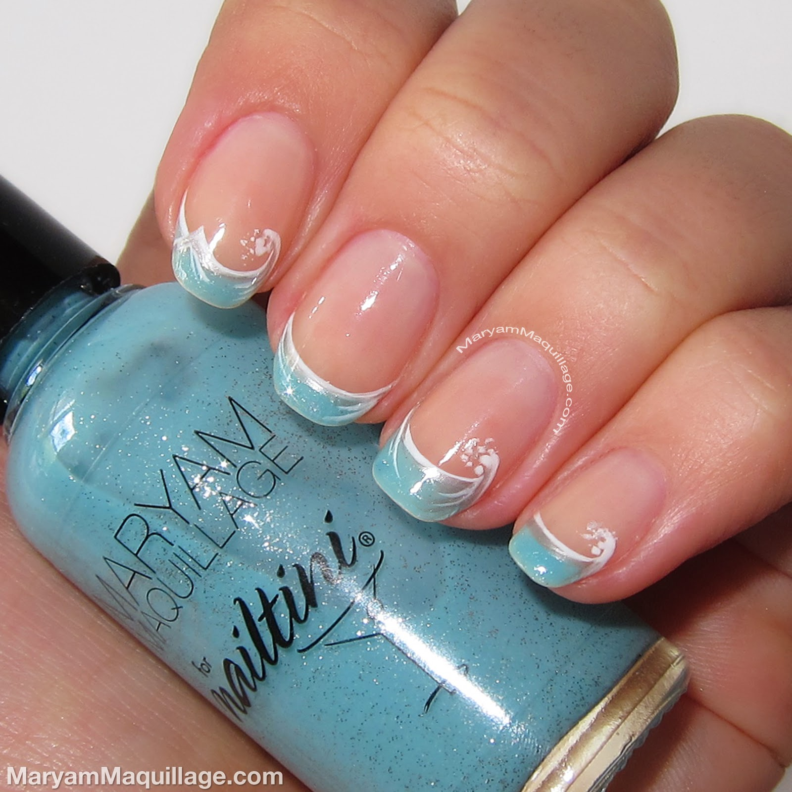 "Maryam Maquillage: ""Ocean Waves"" Artistic French Nail Art"