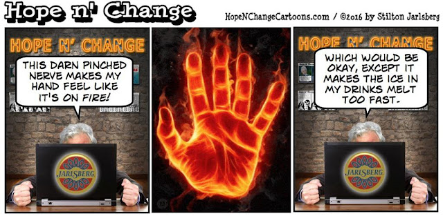 obama, obama jokes, political, humor, cartoon, conservative, hope n' change, hope and change, stilton jarlsberg, pinched nerve, hand, cervical radiculopathy