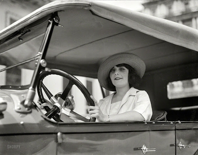 Woman Driving Car Circa