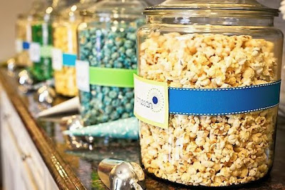 blue and yellow popcorn buffet