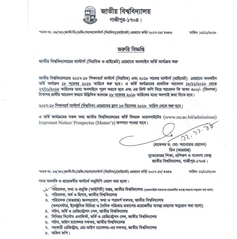 Masters Admission notice 2018