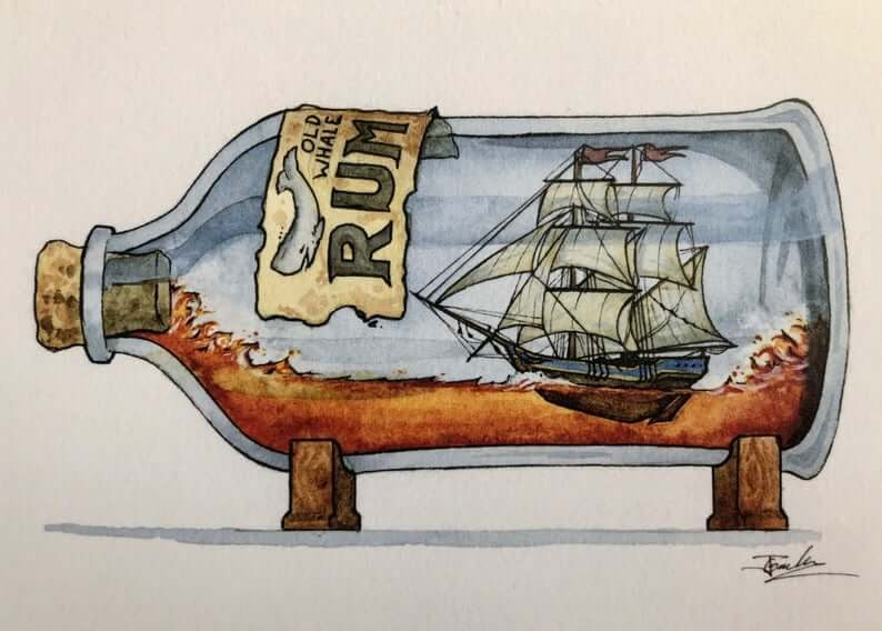 04-Old-Whaler-Rum-Jon-Guerdrum-Ship-in-a-Bottle-Drawings-and-Paintings-www-designstack-co