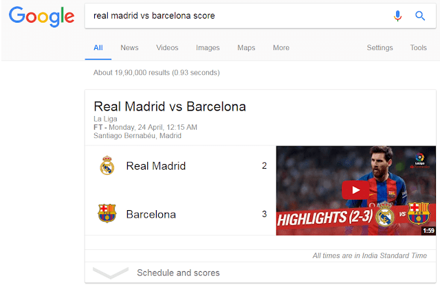 match score by google