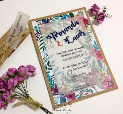 convite artesanal personalizado aniversário infantil 15 anos casamento rústico moderno diferente estampa floral folhas folhagem boho chic delicado colorido festa linda papelaria personalizada