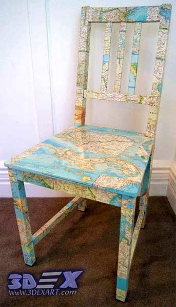 Art furniture with world maps, world map art decor, chair with world map