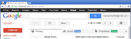 new tabs primary, social and promotions in gmail