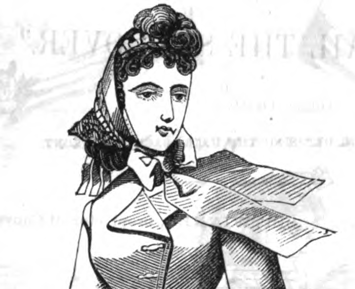 Fanchon bonnet, May 1865, Peterson's Magazine.