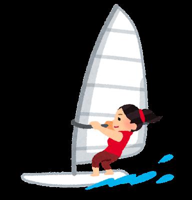 ウインドサーフィンのイラスト(女性)