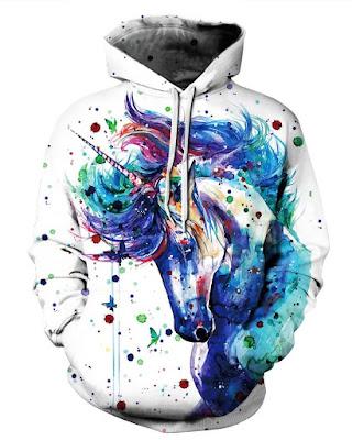 3D Unicorn Oil Painting Pattern Men Sweater Long Sleeve Cool Hoodies