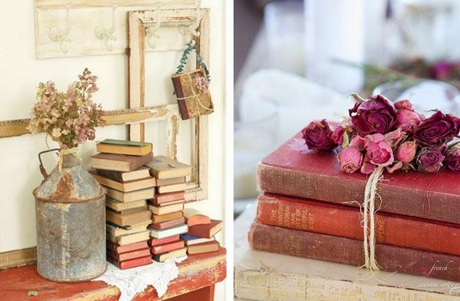 Arredare vintage idee decoro con vecchi libri Home