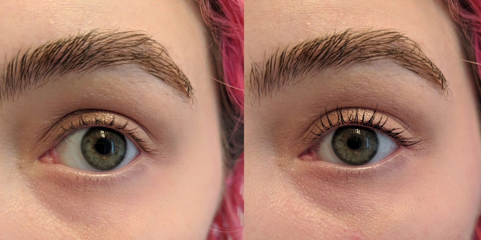 c750b8a5e94 Before and after - One coat of Glossier Lash Slick Mascara has given me  long, lifted lashes with beautiful definition.