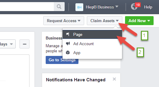 Hướng dẫn đưa Fanpage vào tài khoản Facebook Business