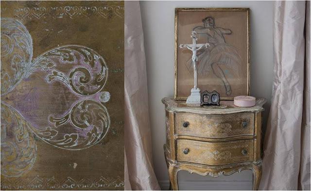 mueble con patina dorada