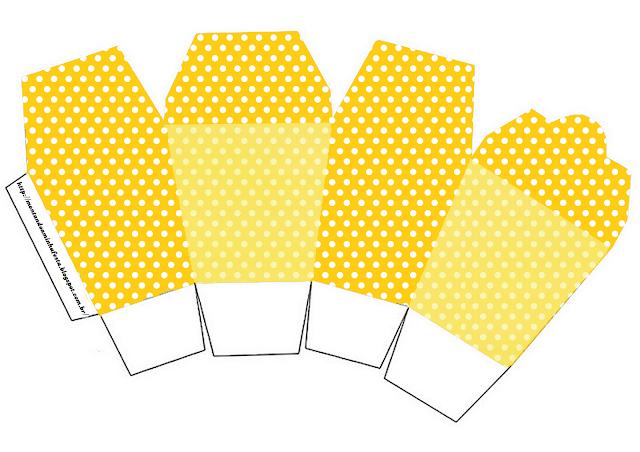 Kit en Amarillo con Lunares Blancos para Imprimir Gratis.