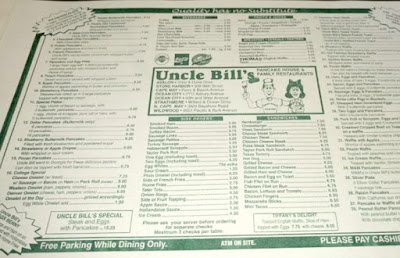 Uncle Bill's Pancake House in Wildwood, New Jersey Restaurant Menu