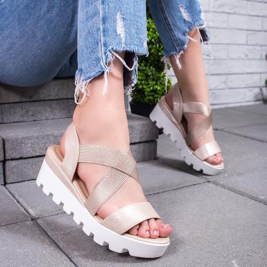 Sandale casual de vara de dama cu platforma aurii
