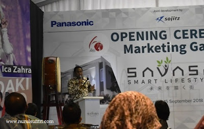 sambutan bapak rachmat gobel presiden komisaris group panasonic gobel sinar mas land sojitz nurul sufitri blogger opening ceremony marketing gallery savasa deltamas