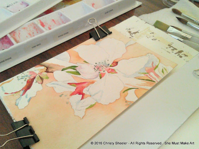Cherry blossoms watercolor painting in progress.