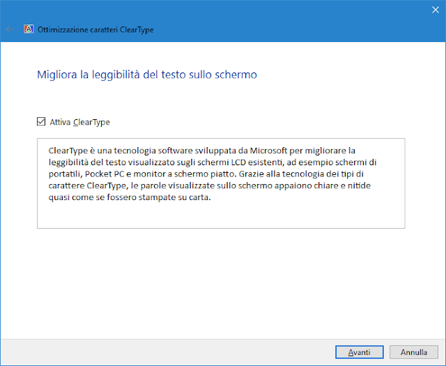 Funzione Testo ClearType di Windows 10