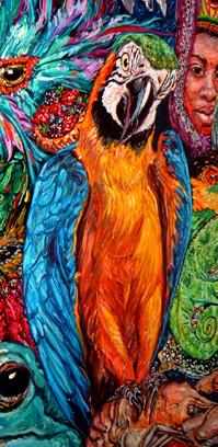 hurricane, rita, katrina, louisiana, cajun, gulf of mexico, oil painting, Melissa Sarat painting, parrot, chameleon, frog, turtle, mardi gras, masks, fish, ocean, monkey, carnival, goddess, robin eggs, bird nest, water, storm painting, water painting, goddess painting, mardi gras painting, frog art, frog painting, south louisiana, LSU, parrot art, turtle art, celebration art, environmental, global warming