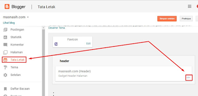 Gambar tata letak blogger untuk edit header