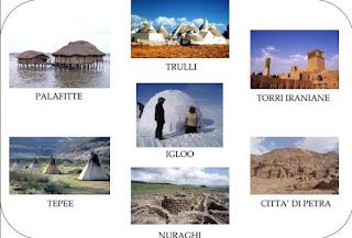Trulli Palafitte Torri Iraniane Igloo Tepee nuraghi città di pietra